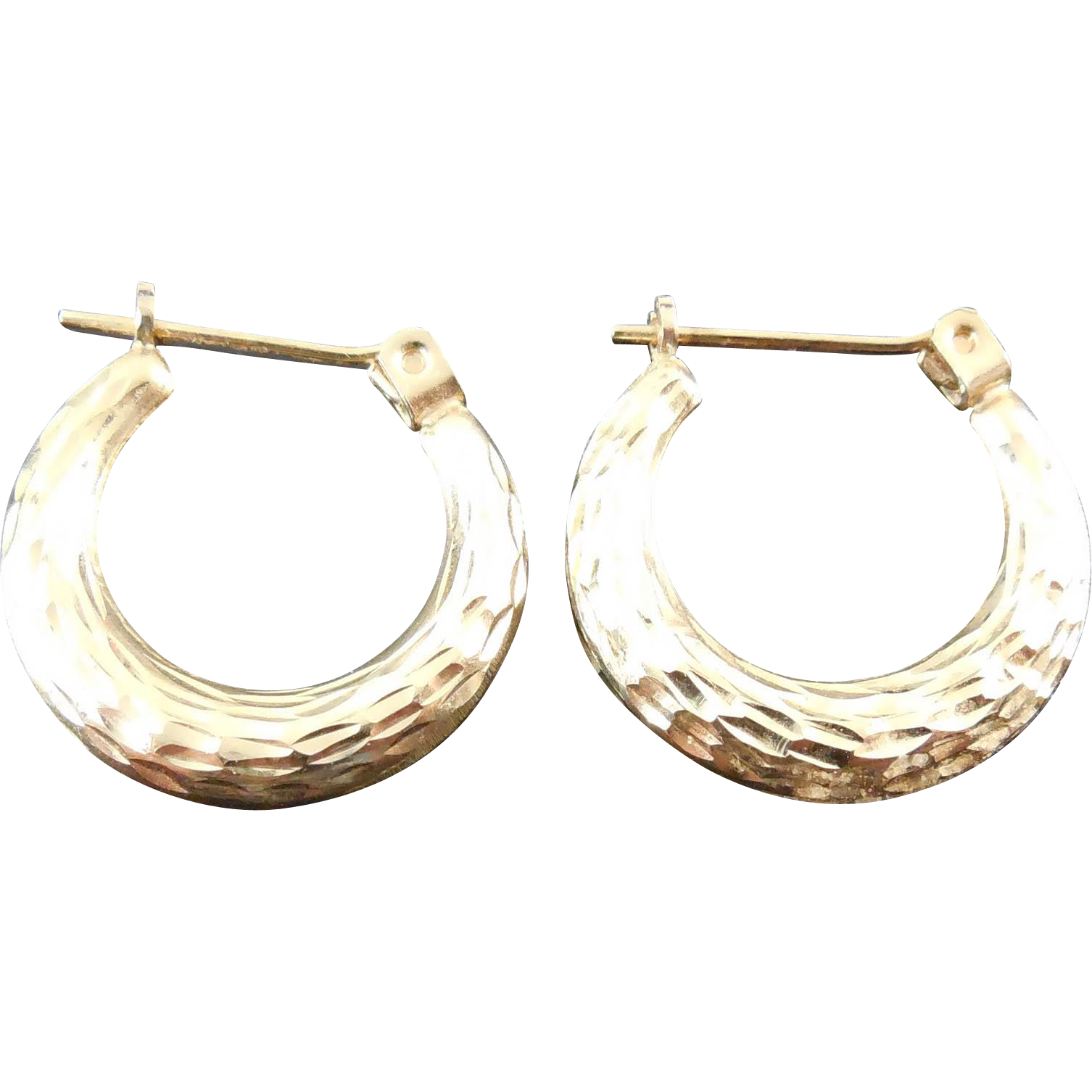 14K Gold Textured Hoop Earrings For Pierced Ears