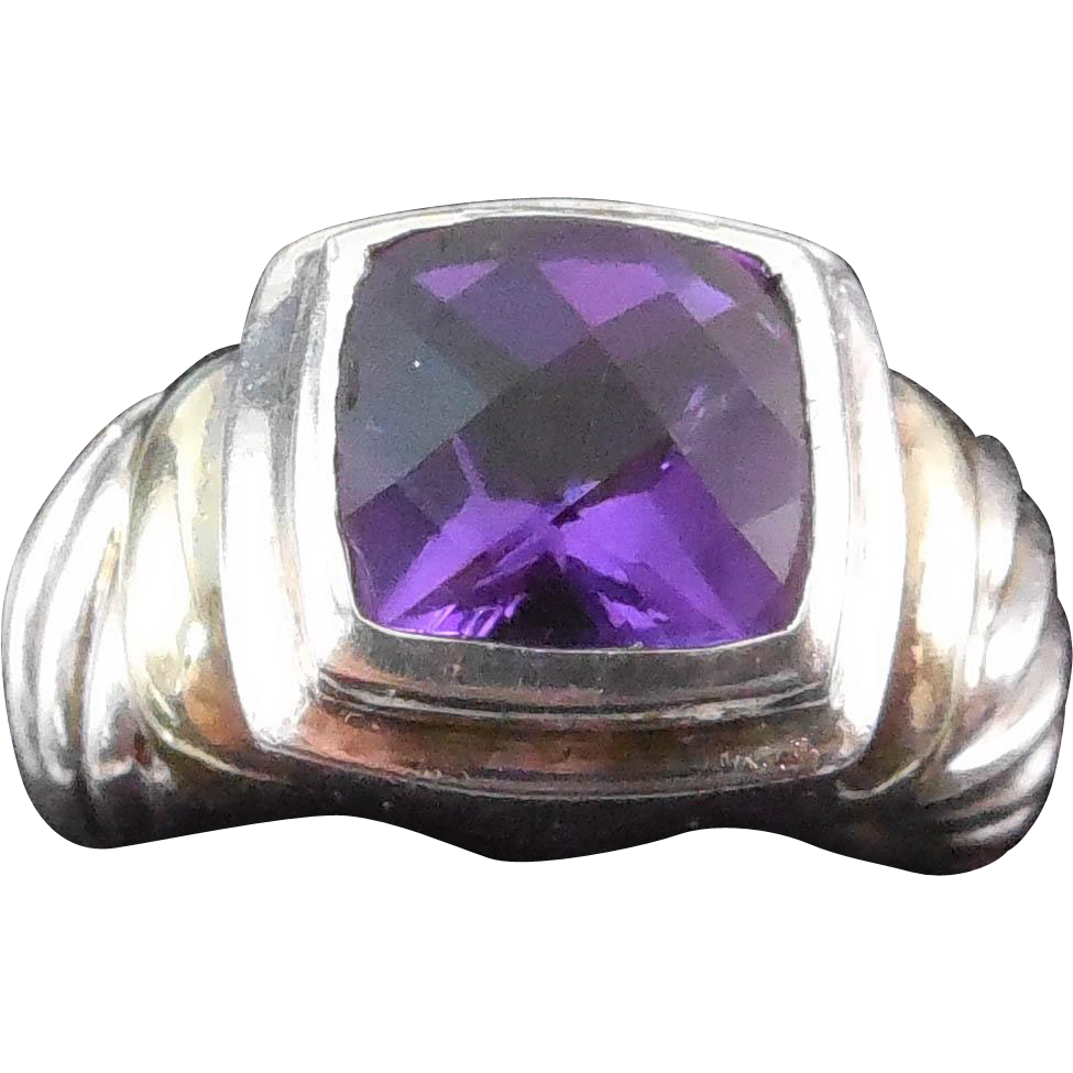 David Yurman Sterling and 14K Gold Amethyst Ring - Size 5