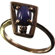 10K Gold Star Sapphire Ring In Modernist Trapezoid Setting - White Gold