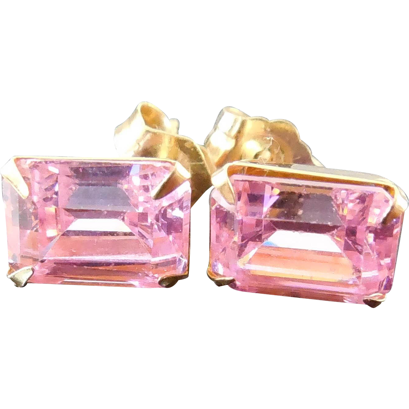 14K Gold Earrings With Pink Glass or Crystal Stones