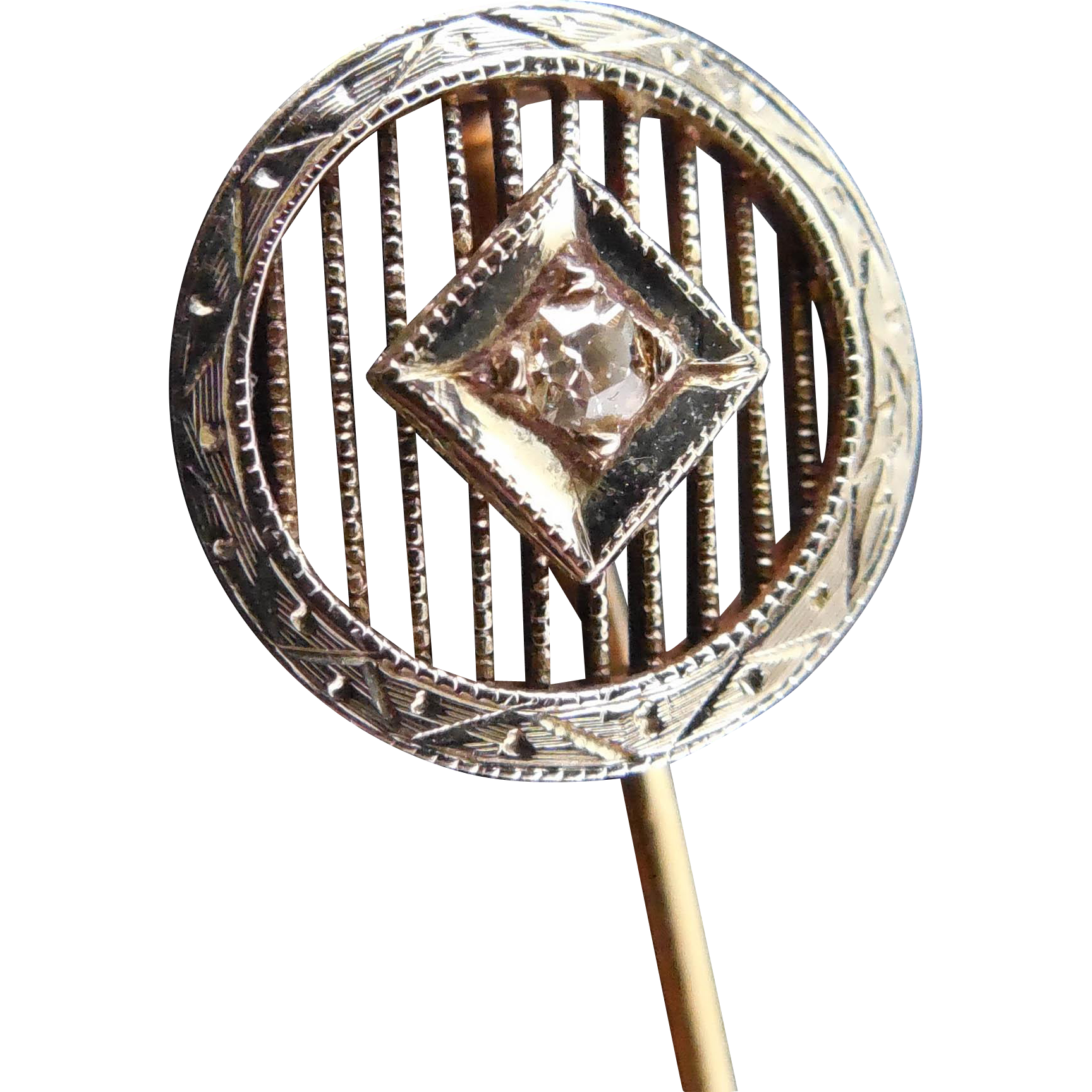 Two Tone Victorian Stick Pin 14K Gold with White Sapphire
