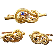 Victorian Jewelry Lovers Knot Set Brooch & Matching Earrings - Gilt With 14K Wires - As Found