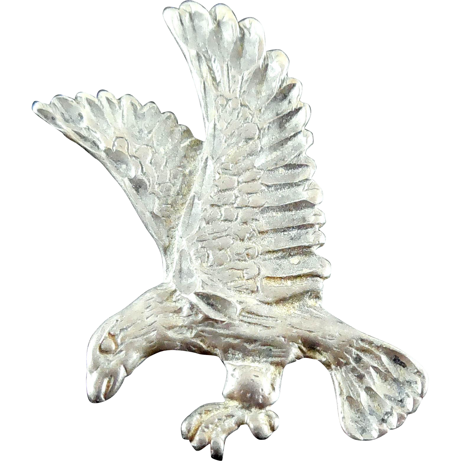 Vintage Sterling Silver Eagle Landing Pendant Signed With A Bee or Insect