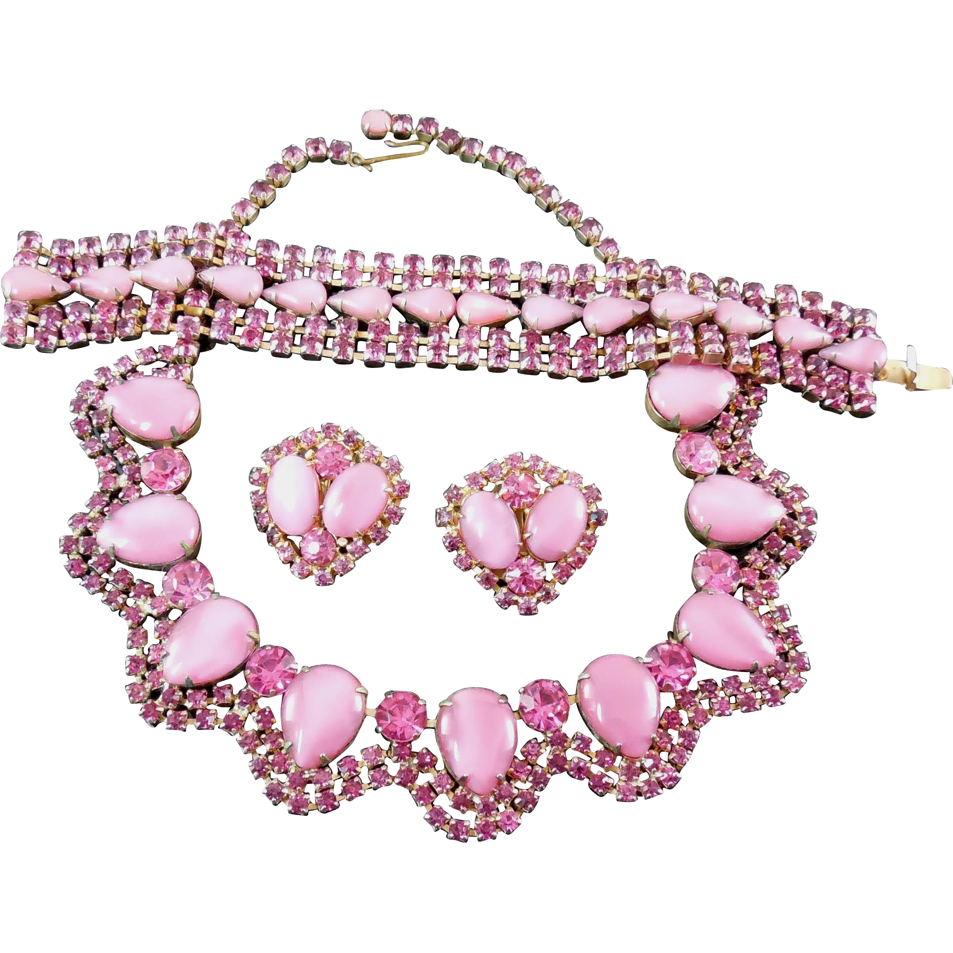 Gorgeous Pink Rhinestone Parure - Unsigned Warner Necklace Bracelet Earrings