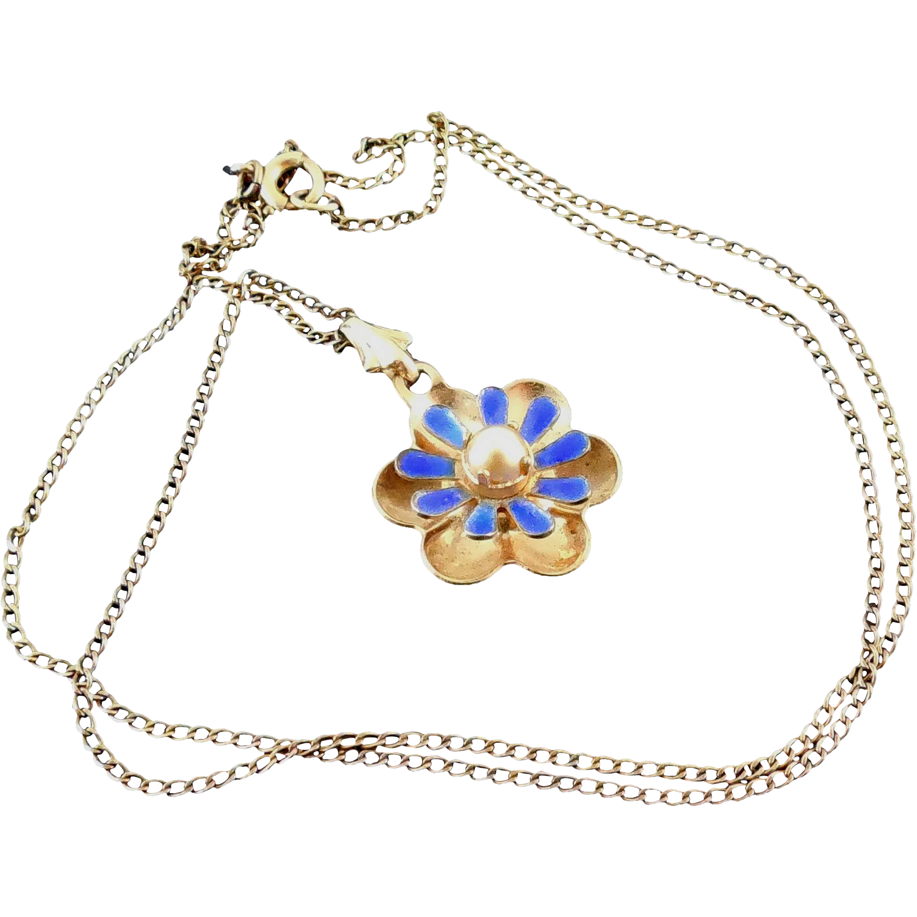 Signed Walter Lampl Blue Enamel Gold Filled Necklace With Flower Pendant