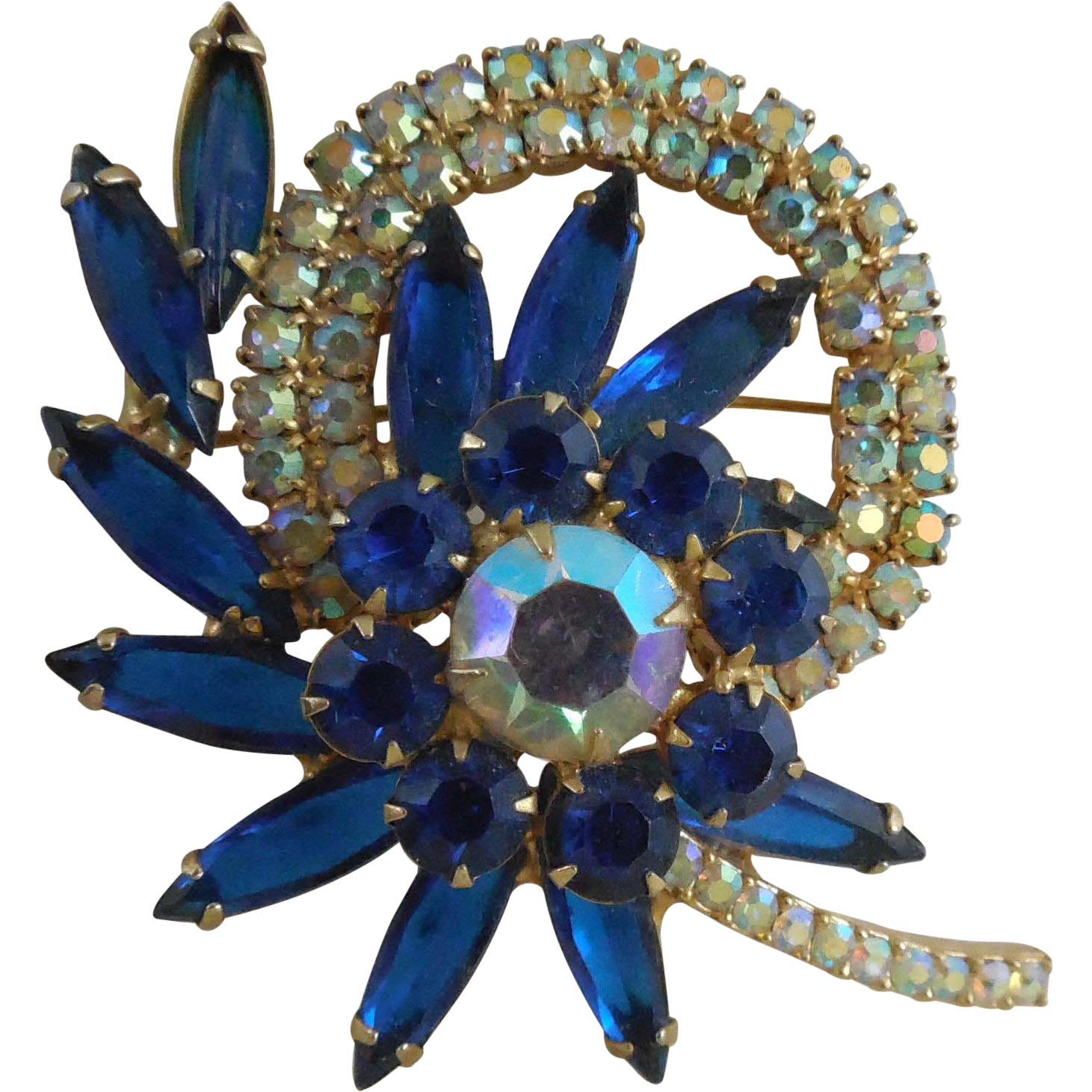 Gorgeous Vintage Brooch With Blue and AB Rhinestones - Large Size