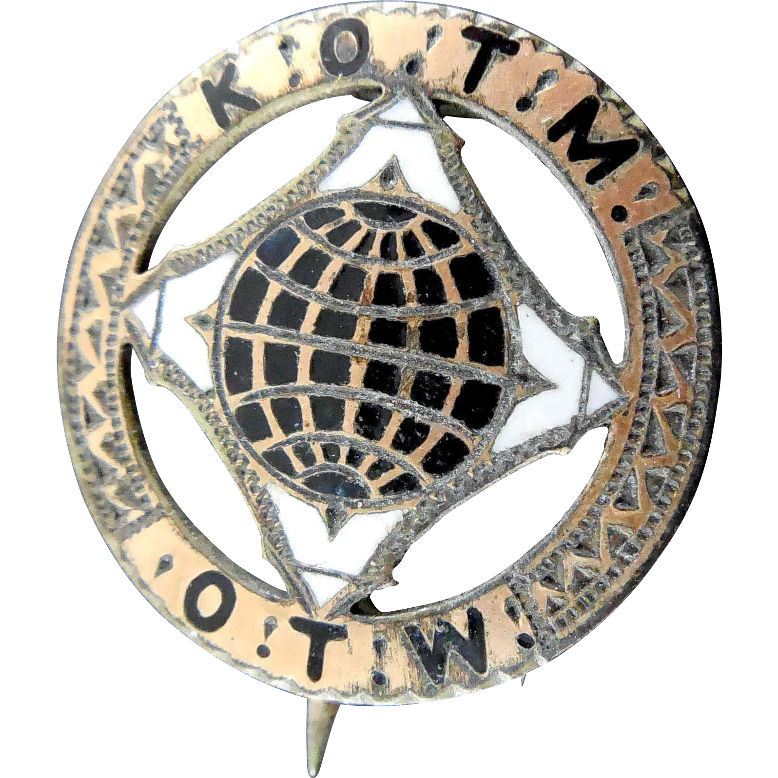 Victorian Fraternal Pin Knights of the Maccabees of the World - Rare 4 Tents