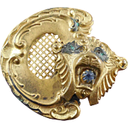 Antique Victorian Lion Buckle Half - Lots Of Detail!