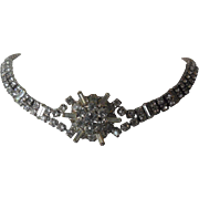 Gorgeous Vintage Rhinestone Choker Necklace - Dramatic Frontpiece - Wedding Prom