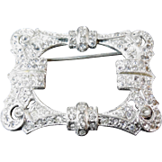 Vintage 1930s Coro Signed Picture Frame Rhinestone Brooch - Gene Verrechio