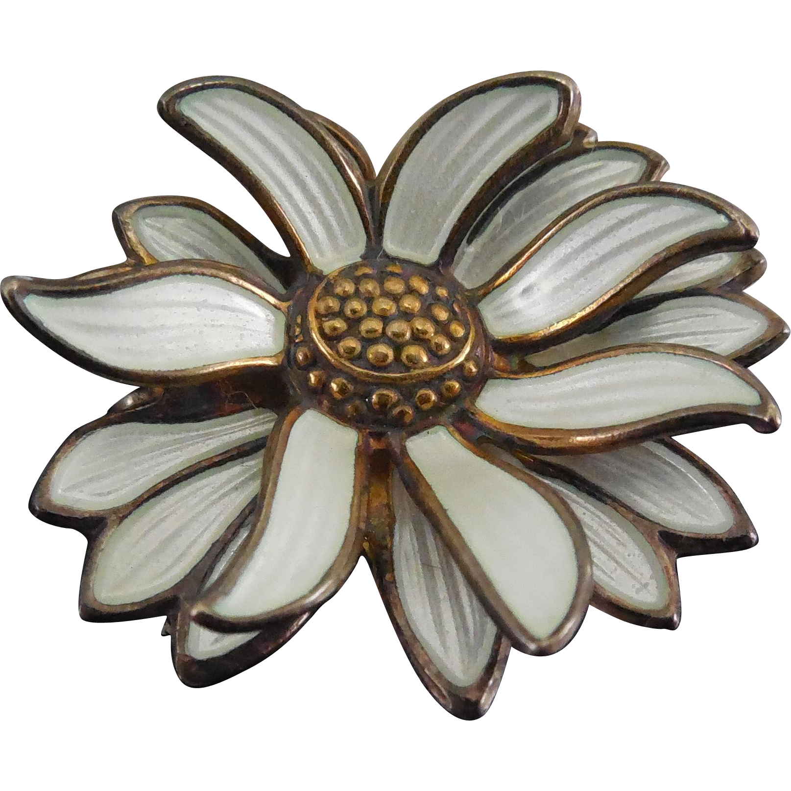 Rare David Andersen Signed Norway Sterling Enamel Chrysanthemum Brooch