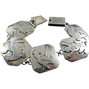 Sterling Silver Native American Panel Bracelet With Animals Signed JP