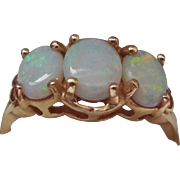 10K Gold & Opal Ring - Gorgeous Color! Size 6 - Signed