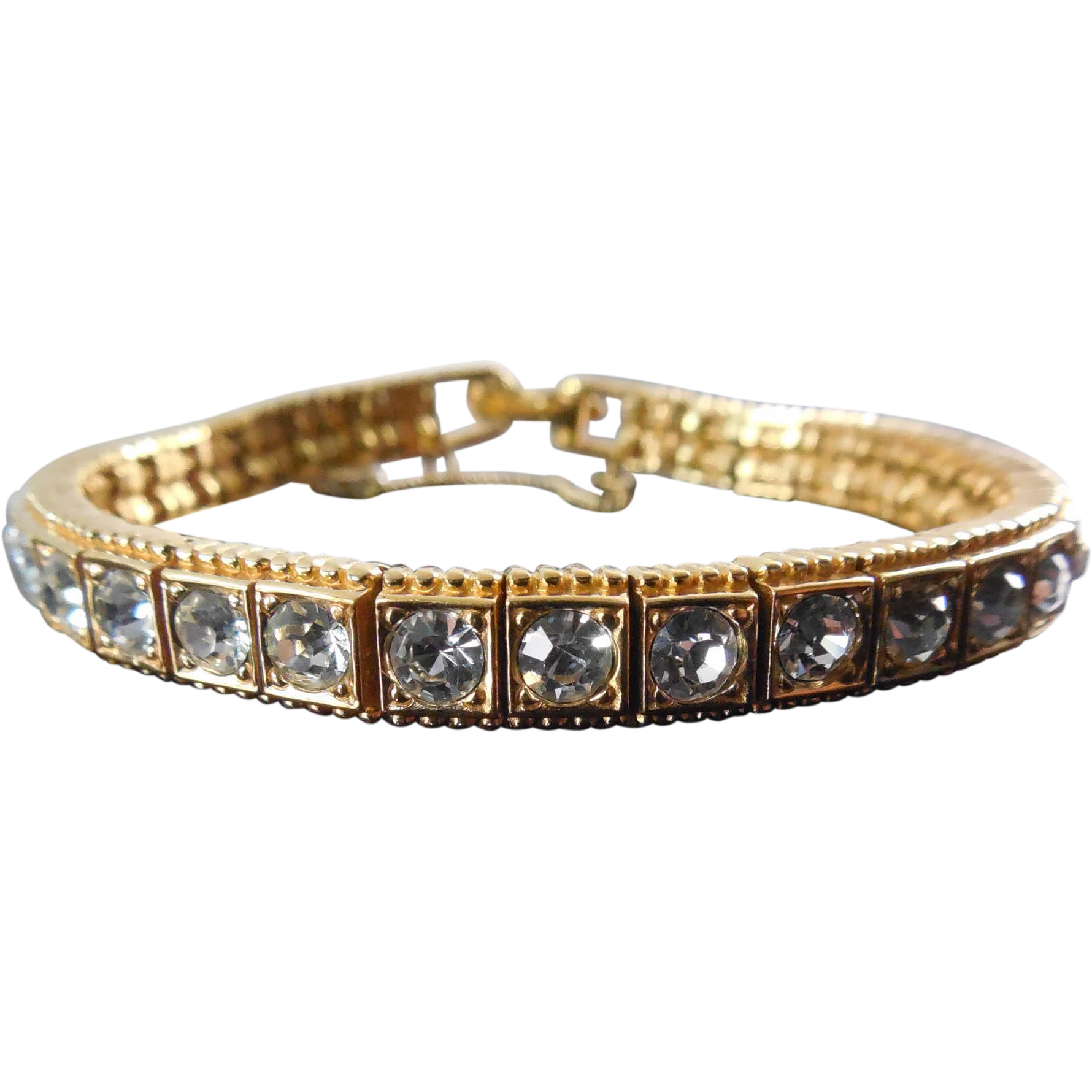 Signed Ciner Bracelet - Tennis Bracelet With Clear Stones - Gorgeous!