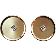 Fabulous Signed Anson Diamond Cufflinks Round Shape 12K Gold Filled - Wedding Prom Jewelry