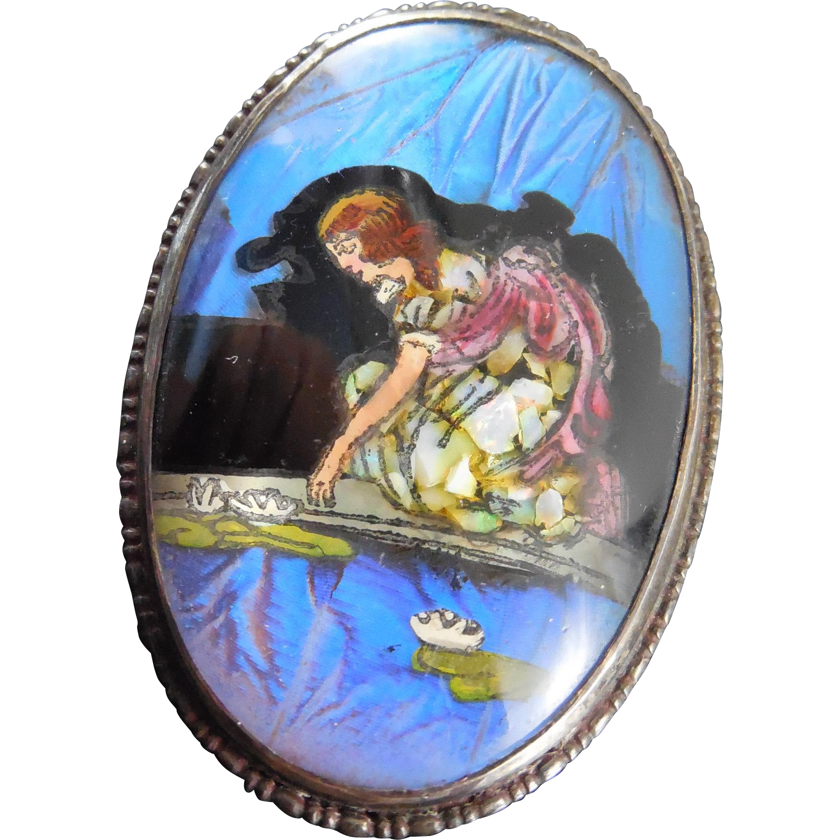 1924 England Sterling Butterfly Wing Brooch Girl Pond Lilypads - Fairy Tale Scene