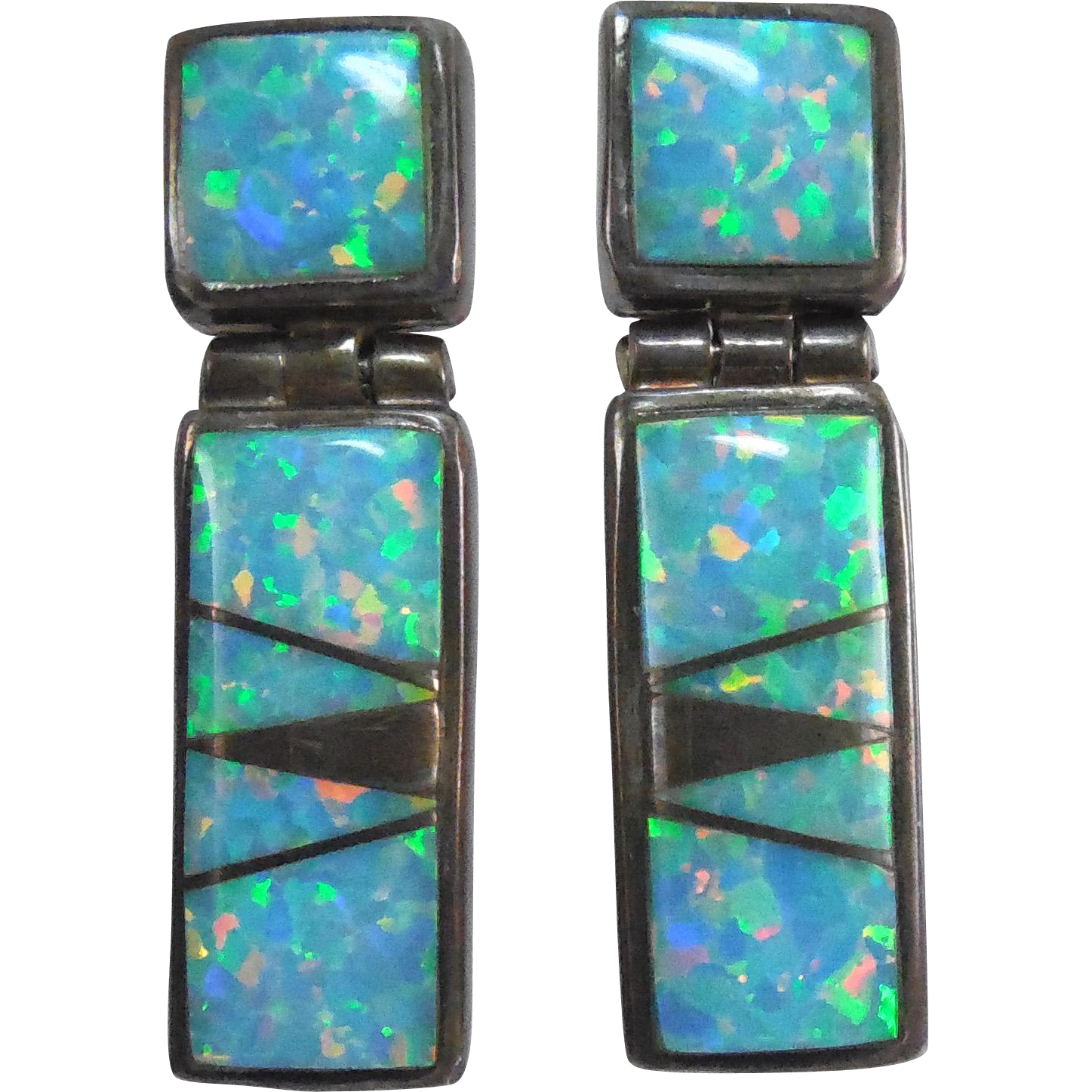 Gorgeous Calvin Begay Signed Sterling Lab Opal Earrings - Brilliant Color!