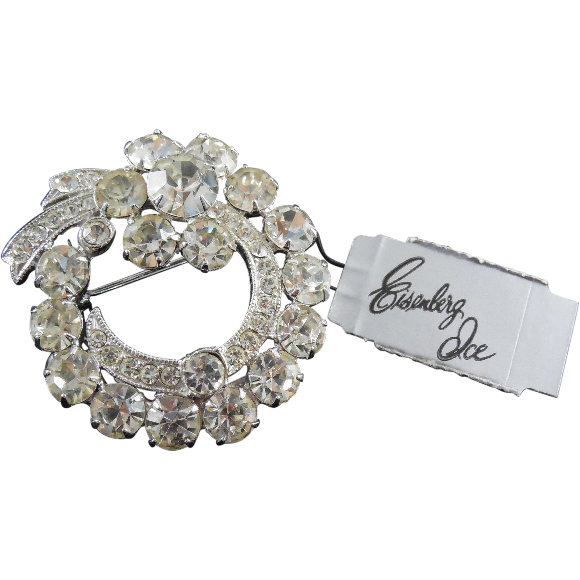 Gorgeous Sparkly Signed Eisenberg Ice Brooch with Original Tag