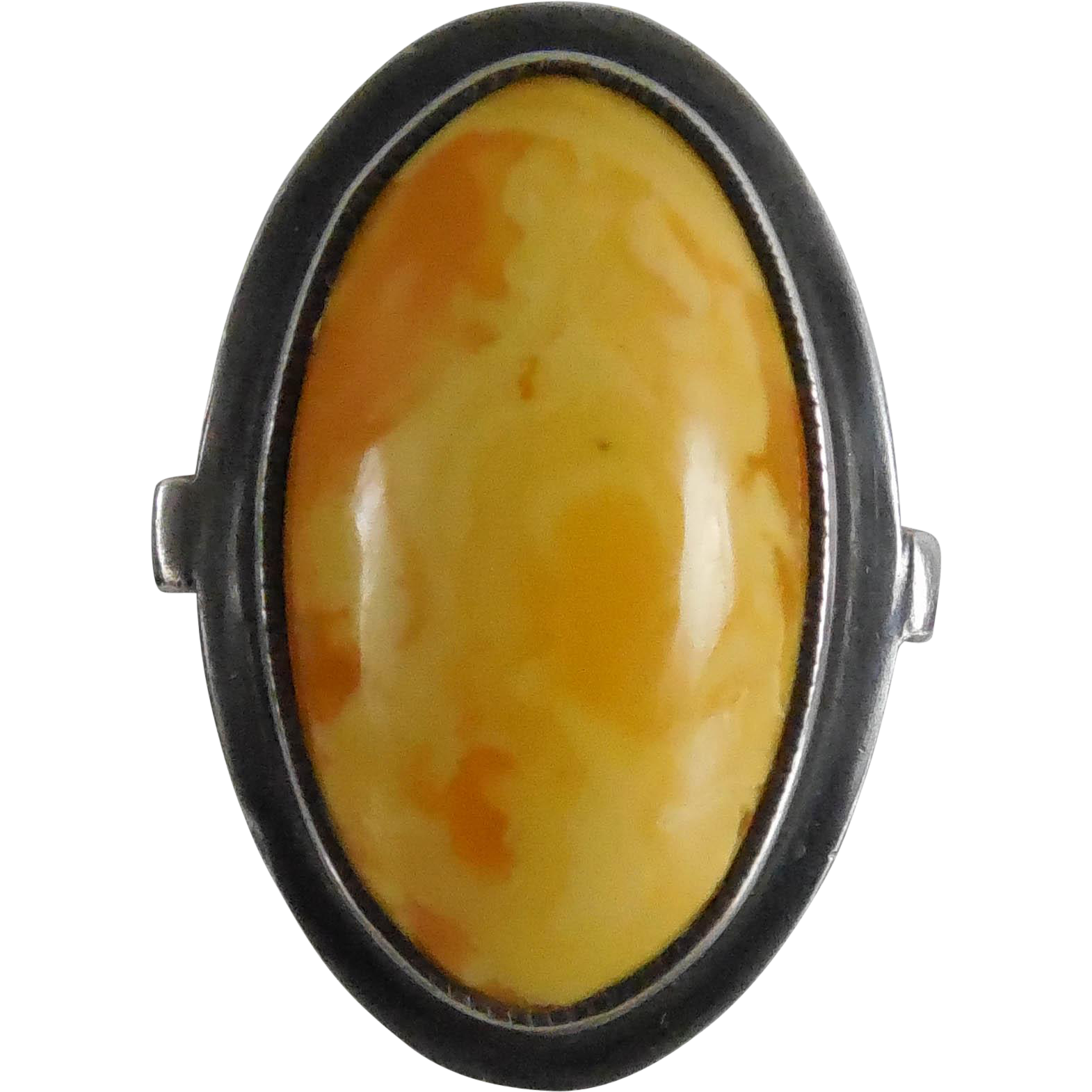 Vintage Baltic Egg Yolk Butterscotch Amber Ring Size 7.5