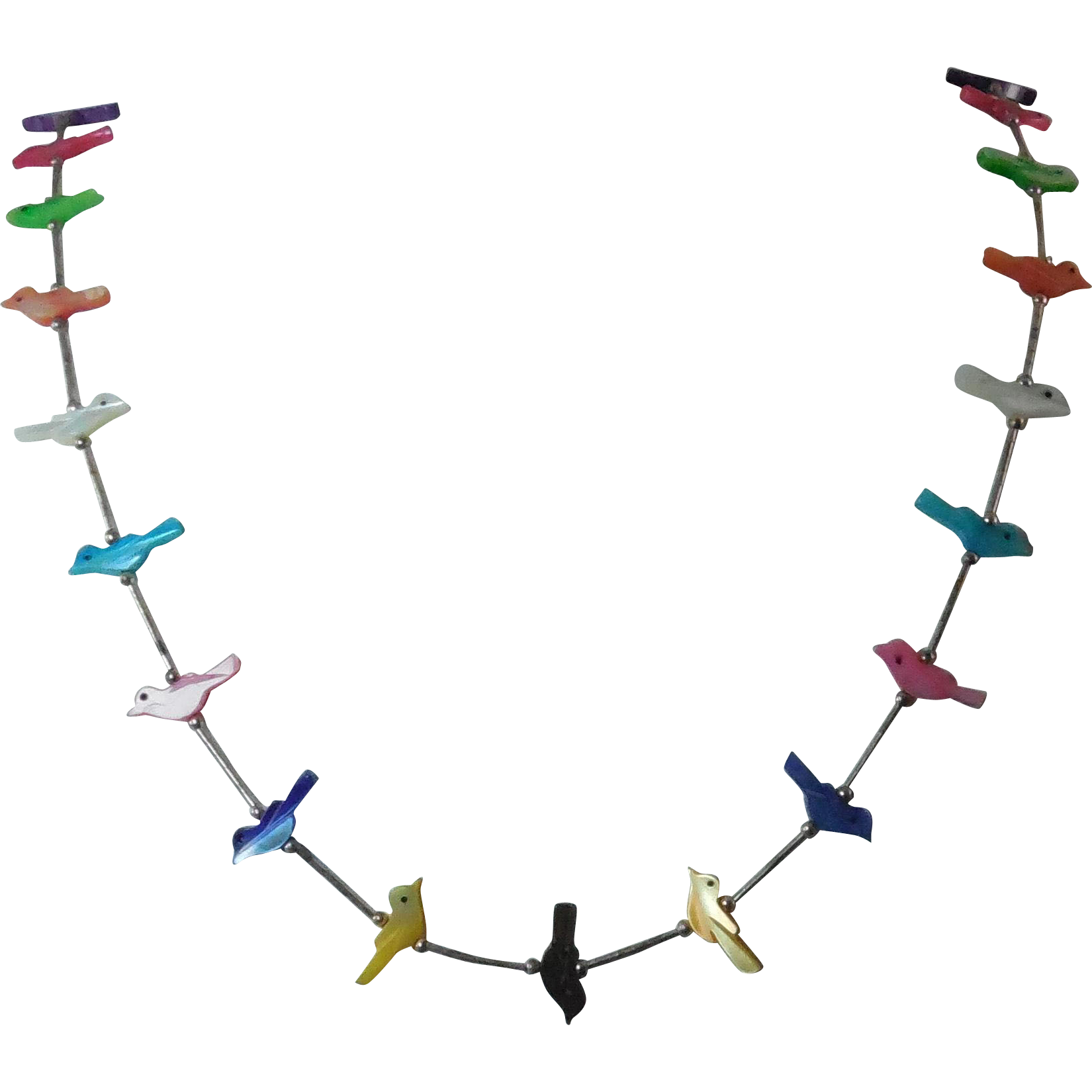 "Colorful Bird Fetish Carved Shell Necklace - 24"" long"