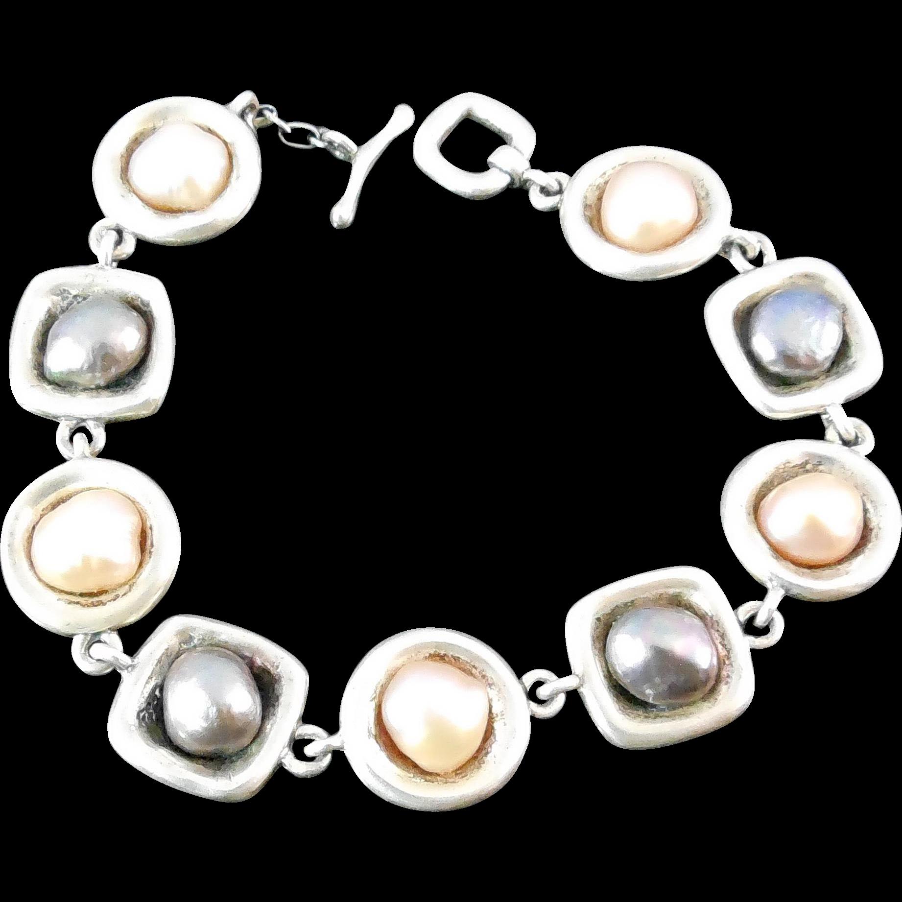 Sterling Silver and Pearl Bracelet - Designer Signed M Bromberg