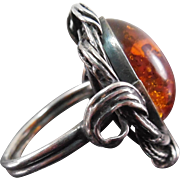 Vintage Sterling Silver & Amber Ring - Polish Marks - Large Stone - Size 9