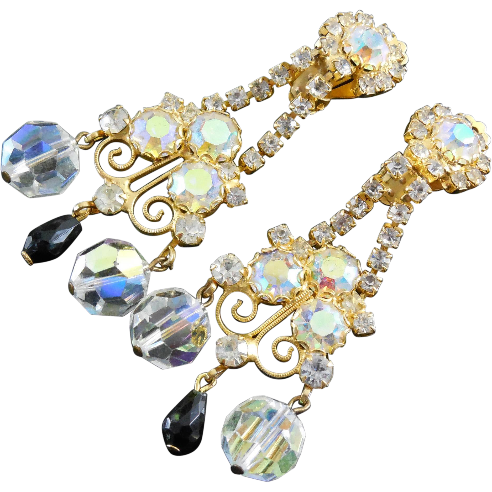 "Fabulous Flashy Long Vintage Crystal Earrings 3"" Long Shoulder Dusters - AB Crystals"