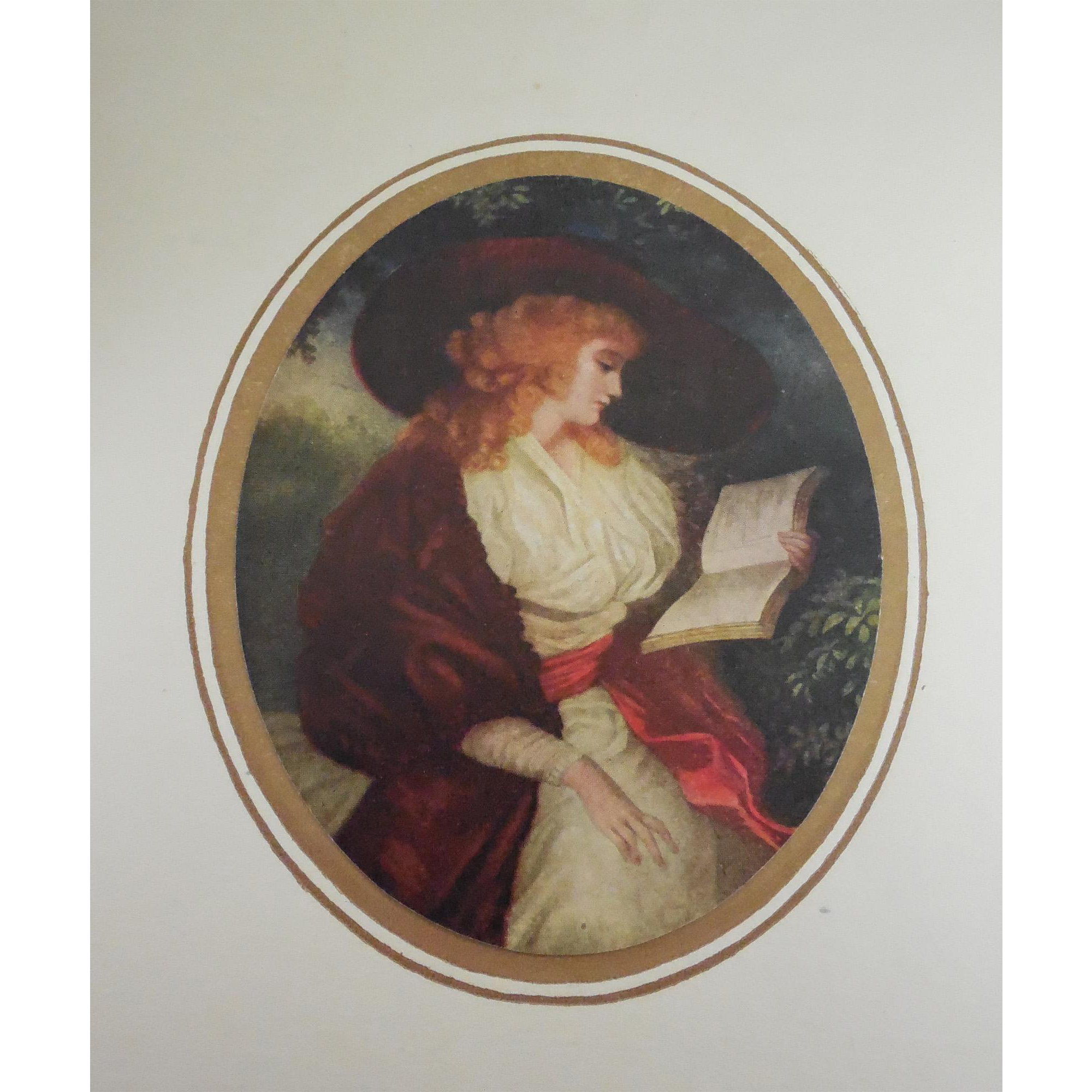 Antique Print Delia In Country by Morland - Oval Print Affixed to Paper