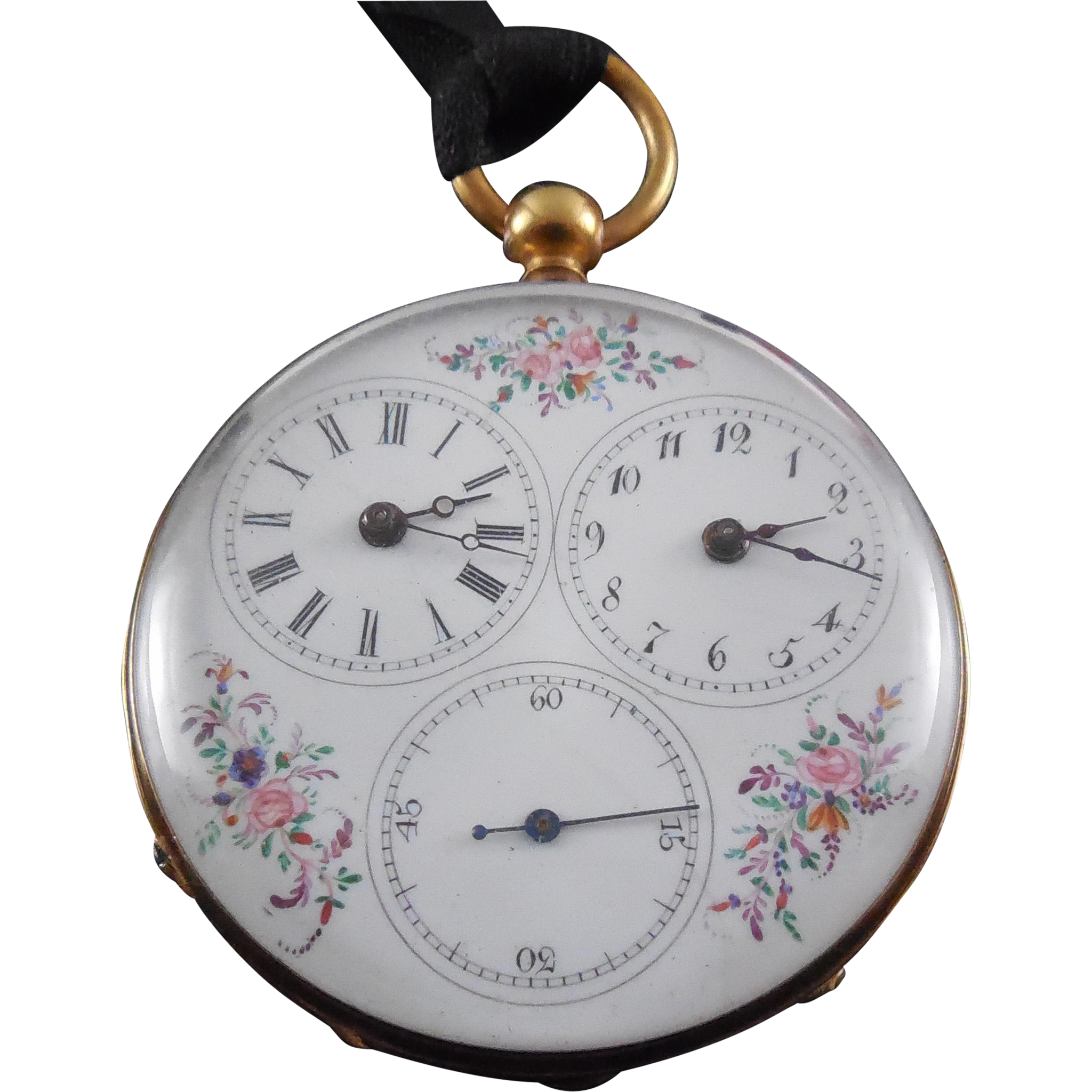 Victorian Dual Time Zone Captain's Pocket Watch - Enamel Flower Dial Circa 1870