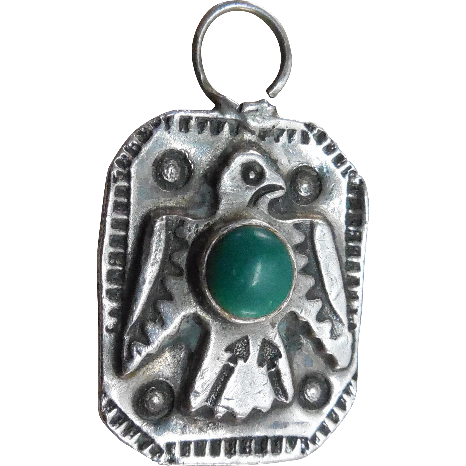 Native American Older Vintage Thunderbird Pendant Sterling Green Turquoise