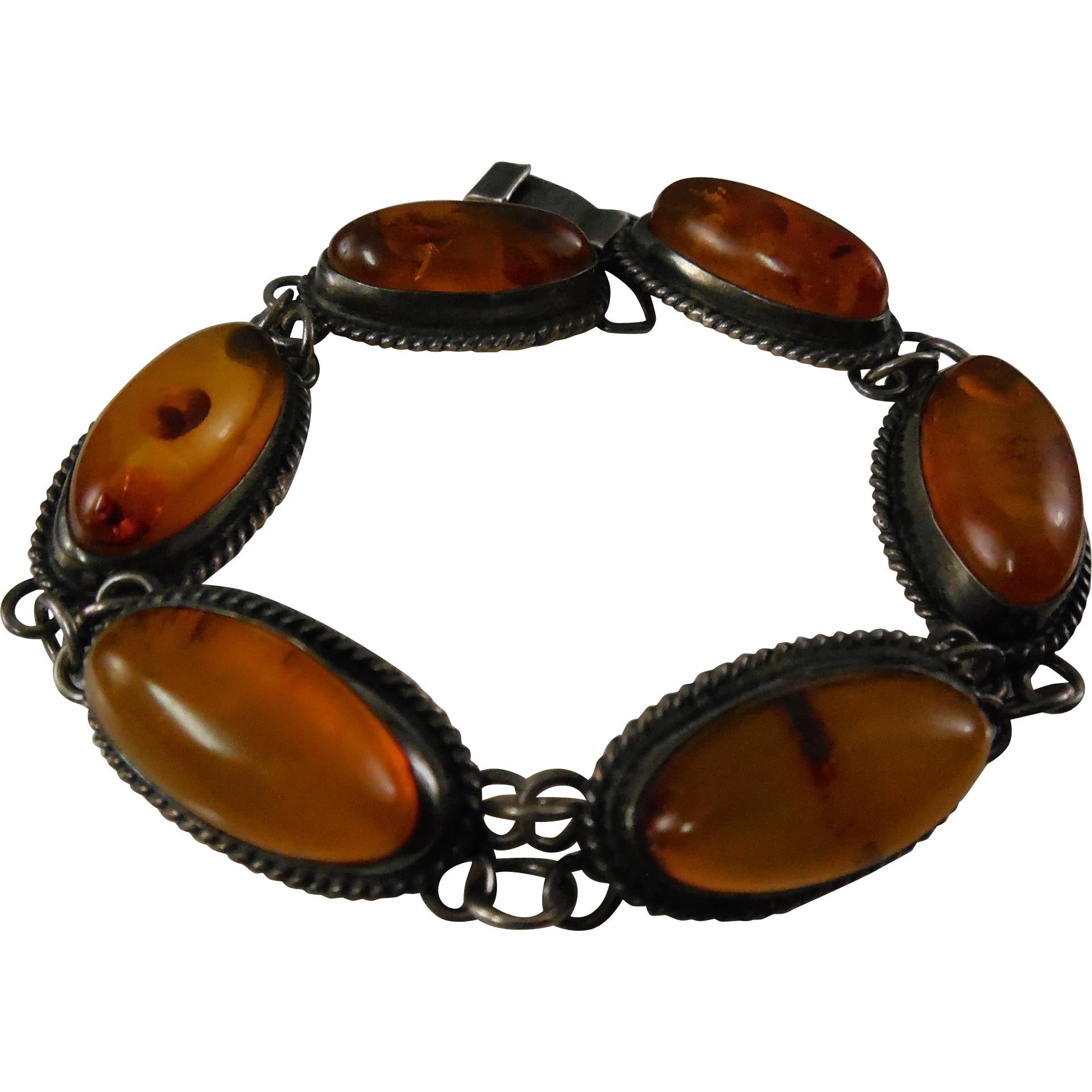 Beautiful Vintage Sterling Silver & Amber Bracelet With Marks of Poland - Oval Stones With Rope Like Border