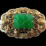 Vintage Signed Freirich Peking Glass Brooch - Green and Golden