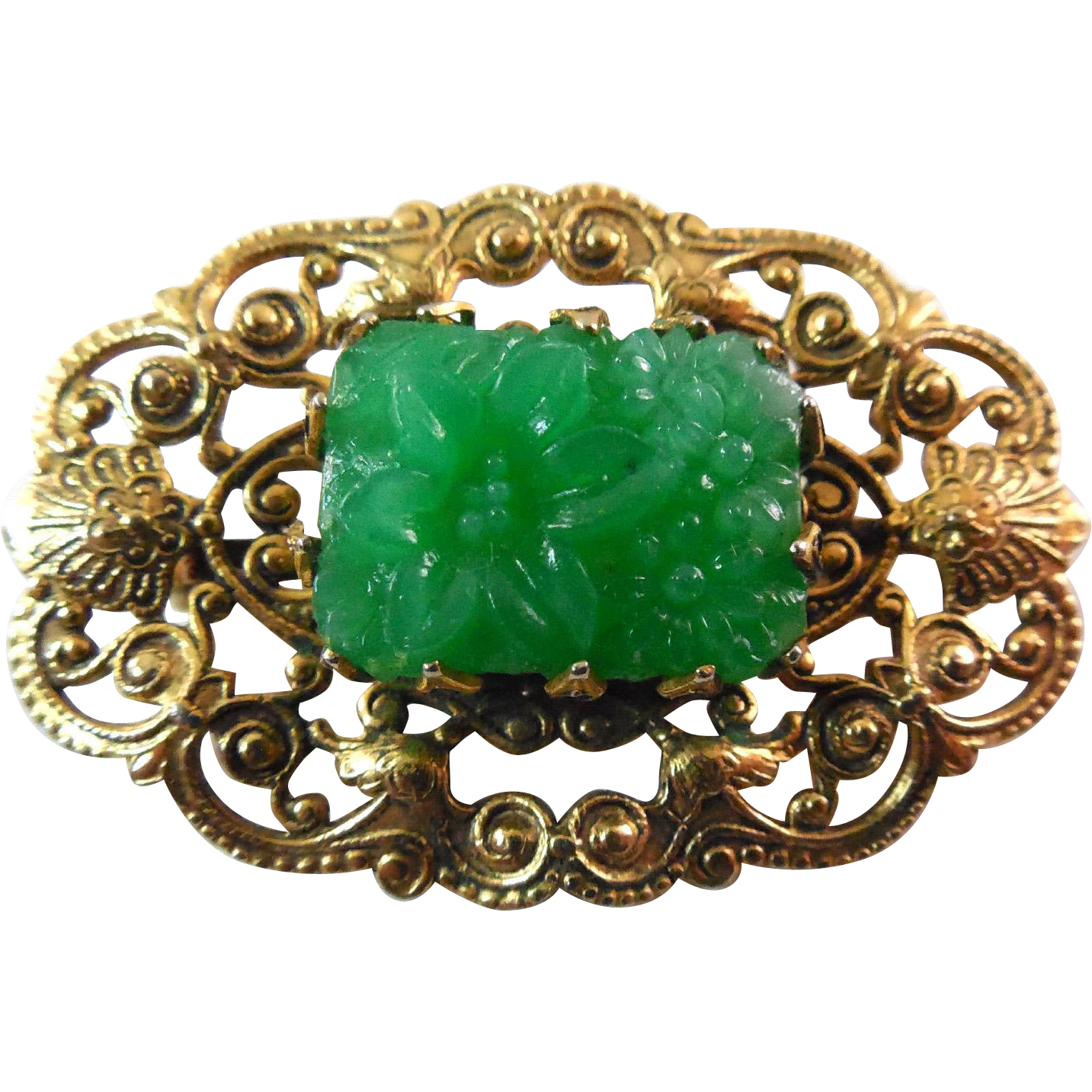 Vintage Signed Freirich Peking Glass Brooch - Green and Golden