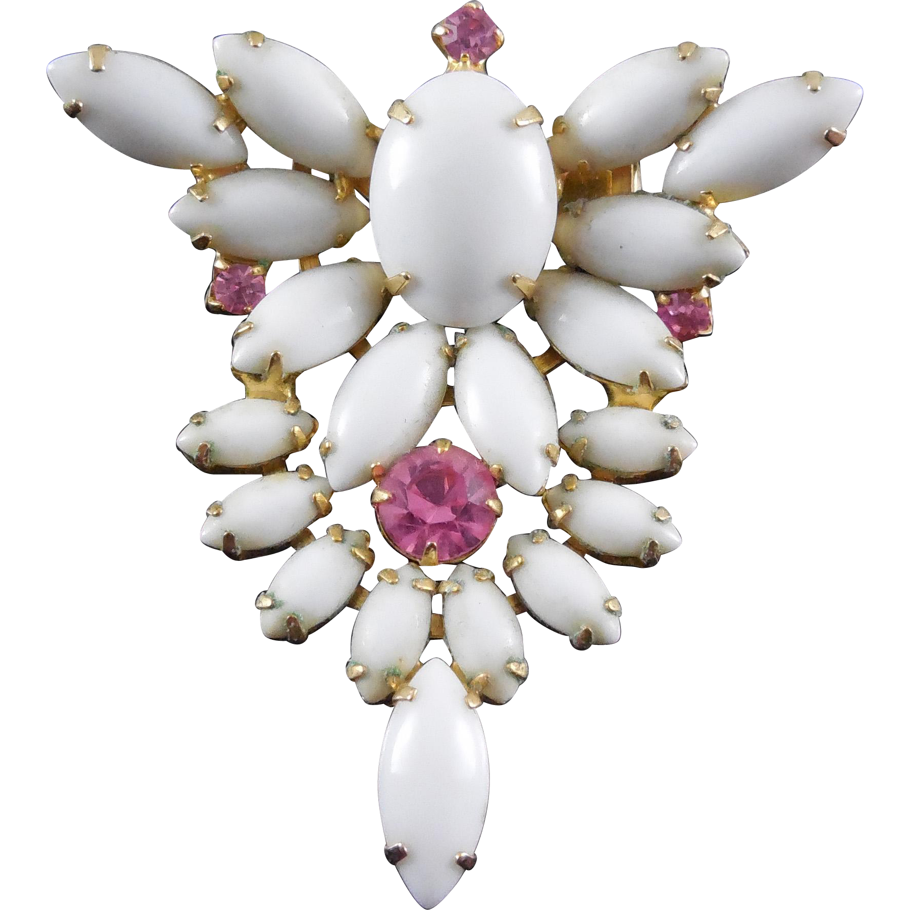 Vintage Milk Glass and Hot Pink Rhinestone Brooch