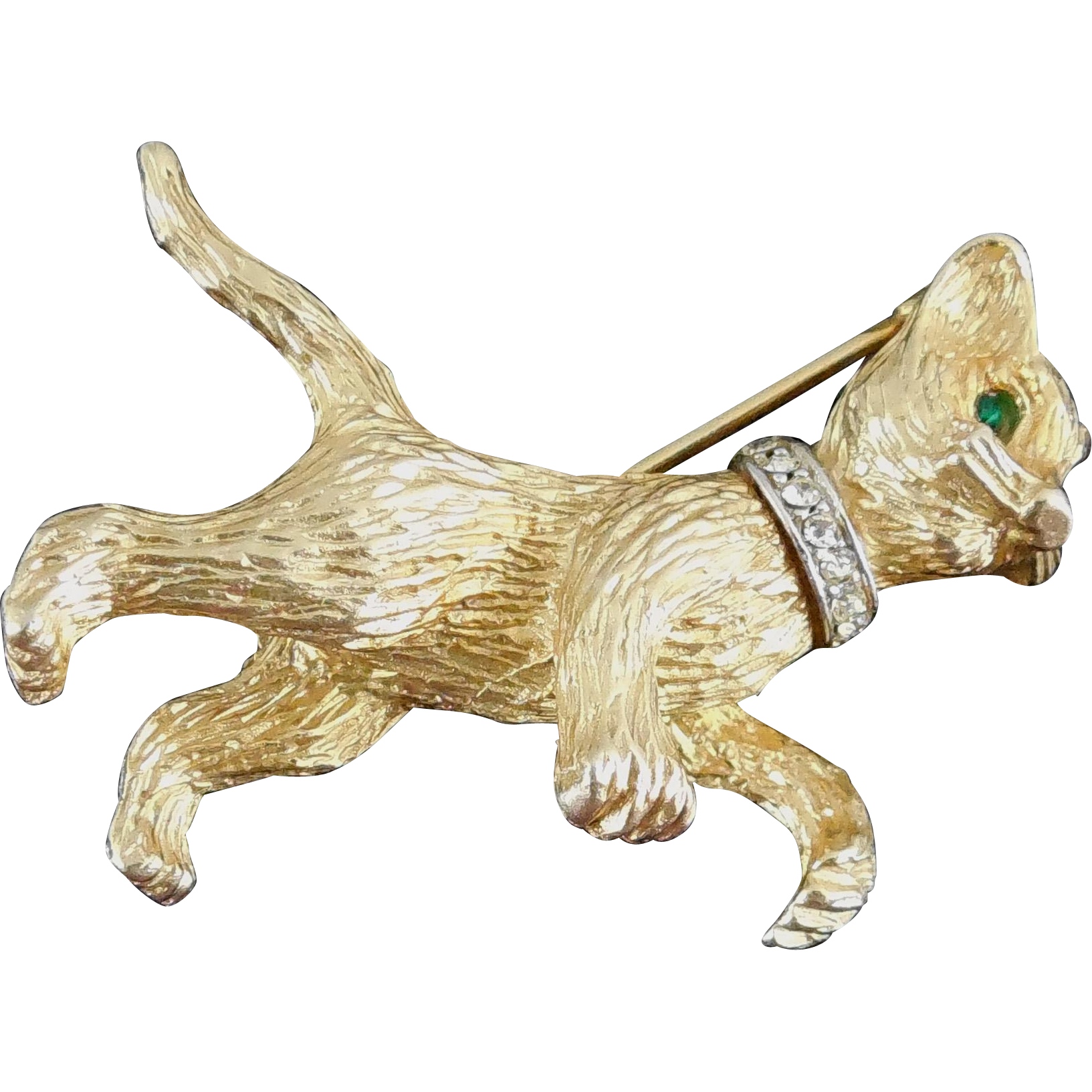 Vintage Hattie Carnegie Kitten Cat Brooch with Rhinestone Collar and Green Eyes