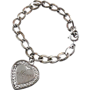 Sterling Silver Charm Bracelet With Heart Shaped Mom Charm Dated 5-8-66