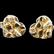 10K Gold Nugget Heart Earrings with 14K Gold Backs - Estate Jewelry