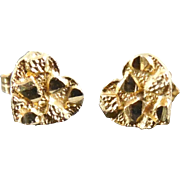 10K Gold Nugget Heart Earrings with 14K Gold Backs - Estate Jewelry