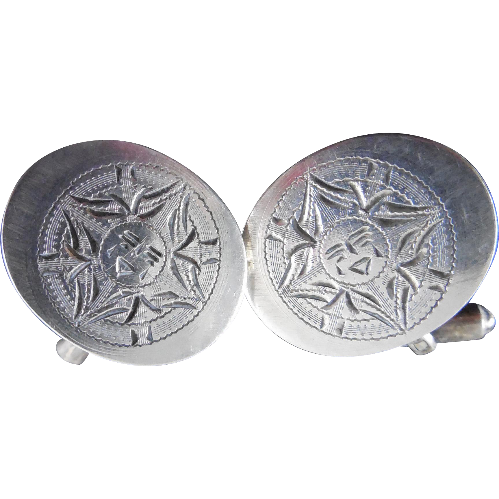 Vintage Mexican Sterling Silver Cufflinks Sun Face Design Signed RBZ