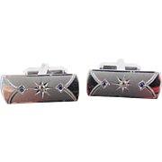 Art Deco Era Signed Sterling Silver Cufflinks - Signed P&K - Blue and Clear Rhinestones