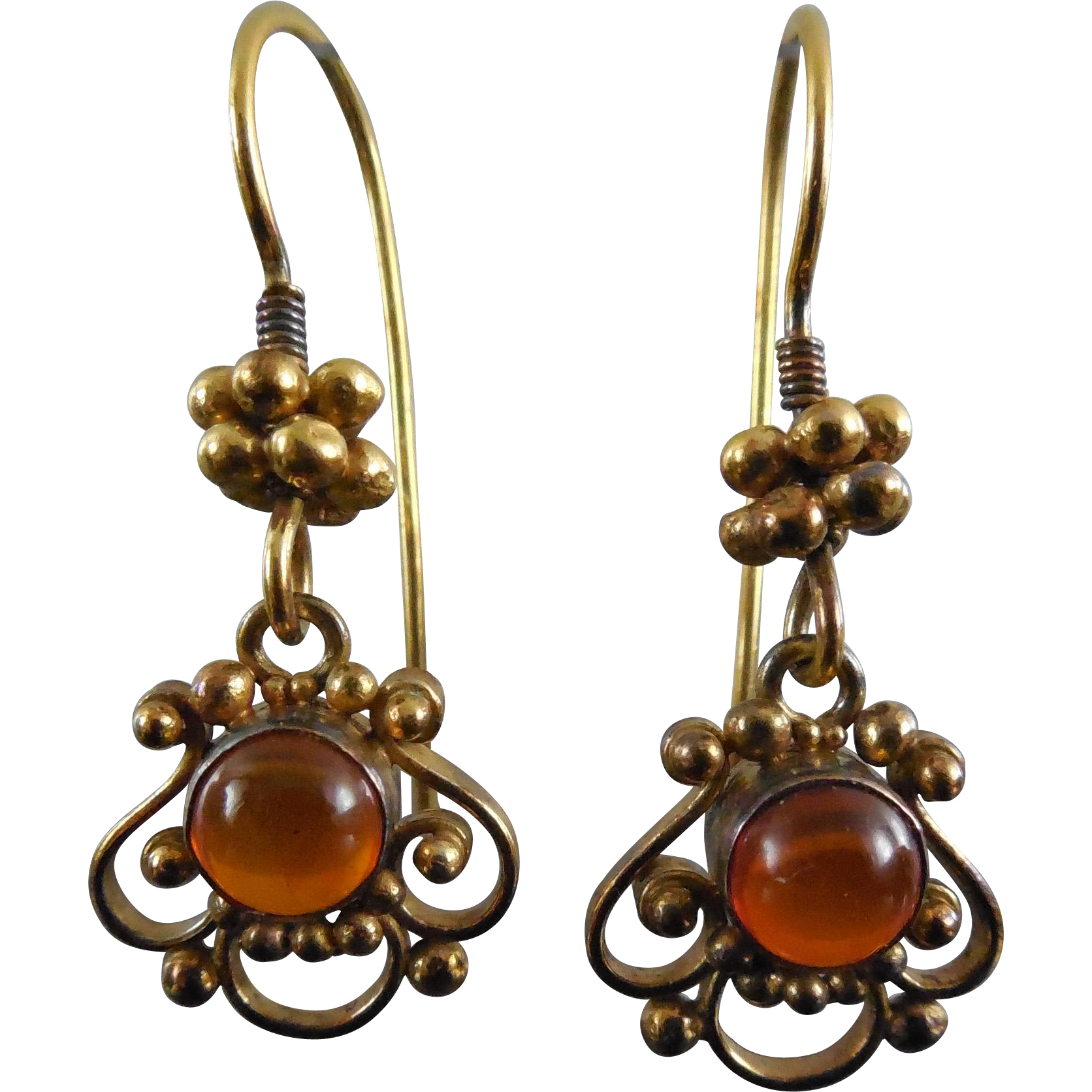 10K Gold & Amber Victorian Earrings - Elaborate Design on Fish Hook Wires