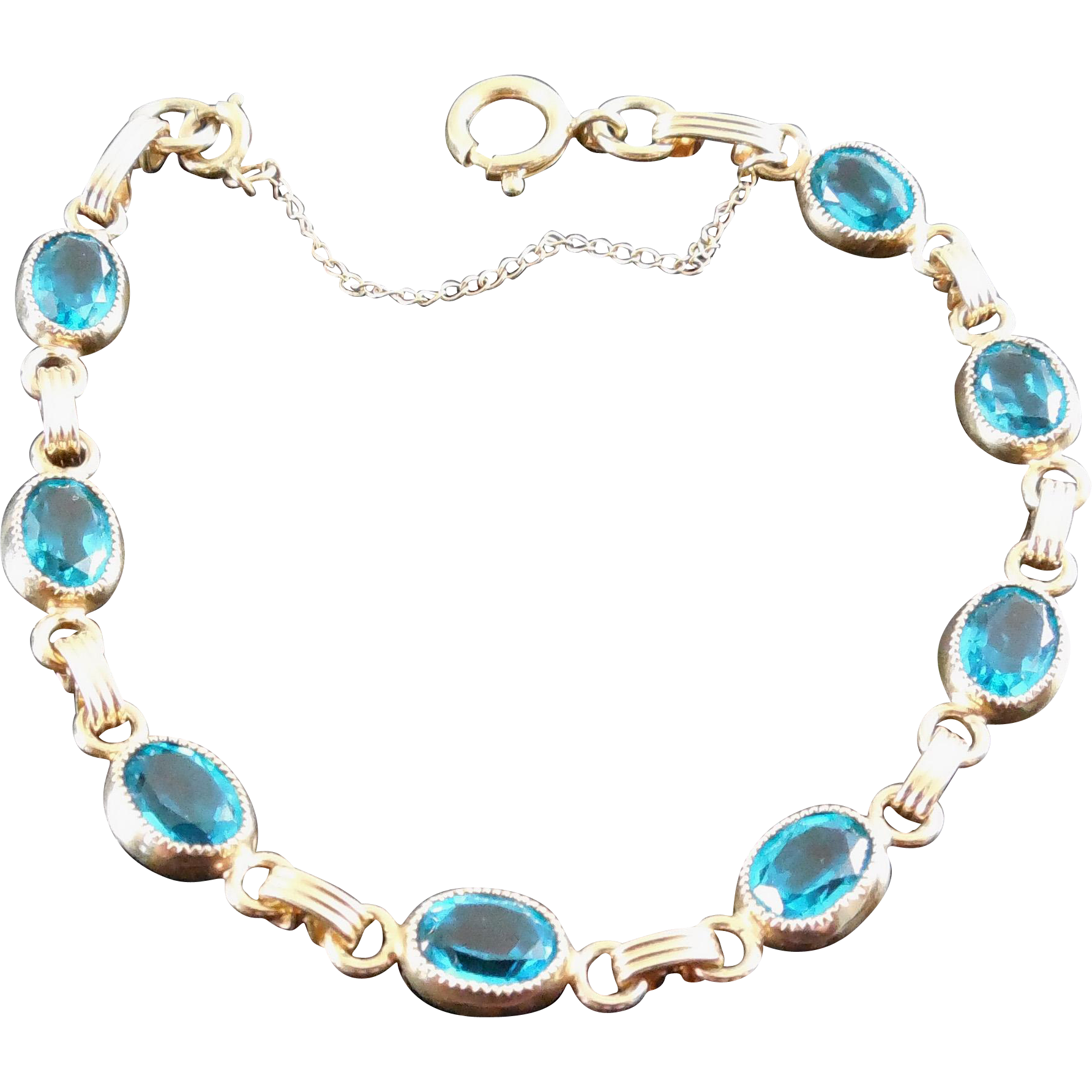 Lovely Gold Filled Bracelet with Teal Crystal Stones - Signed & Safety Chain