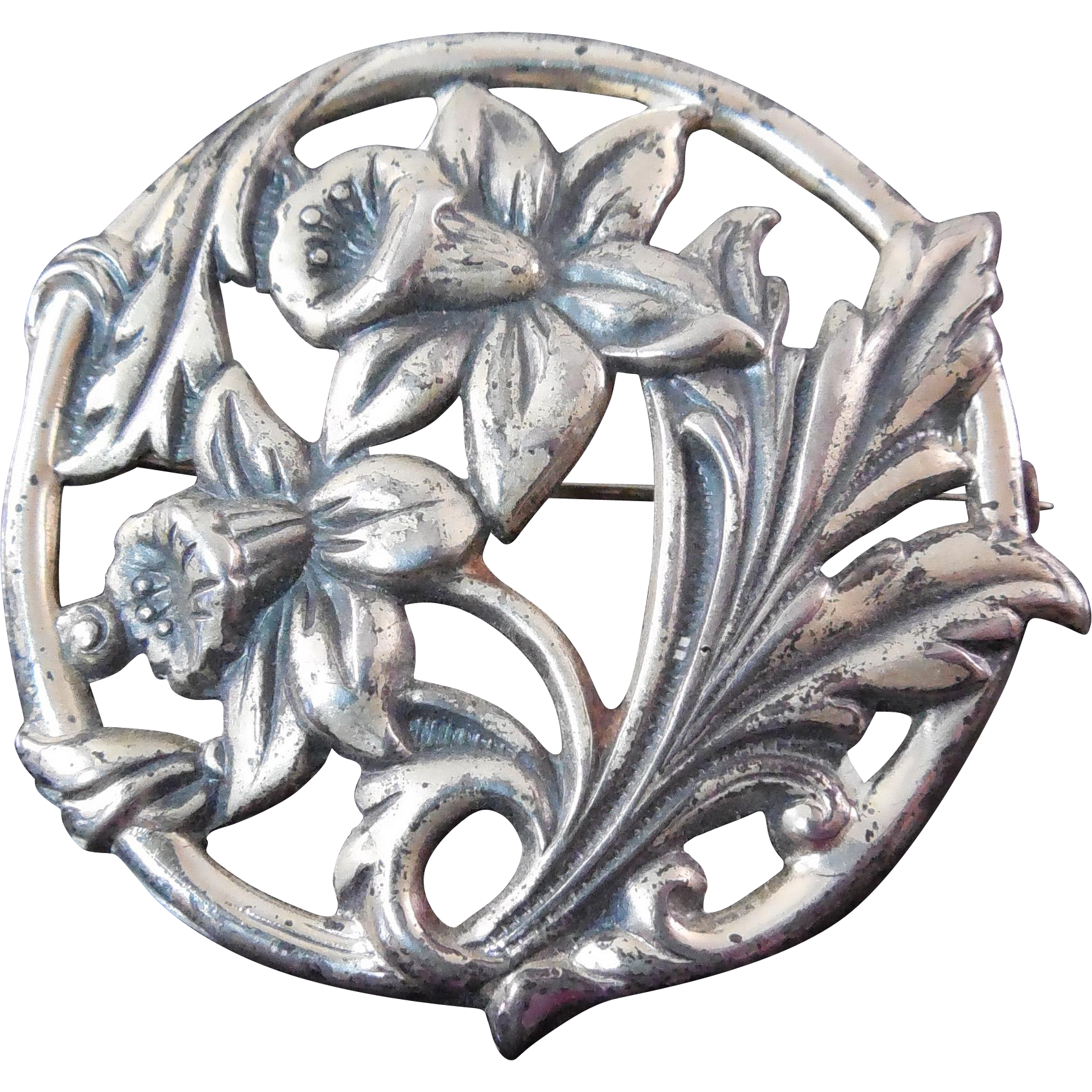 Vintage Sterling Silver Brooch With Springtime Daffodil Flowers
