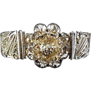 Antique Filigree Sterling Silver Bracelet With Flower Canetille Spun Silver