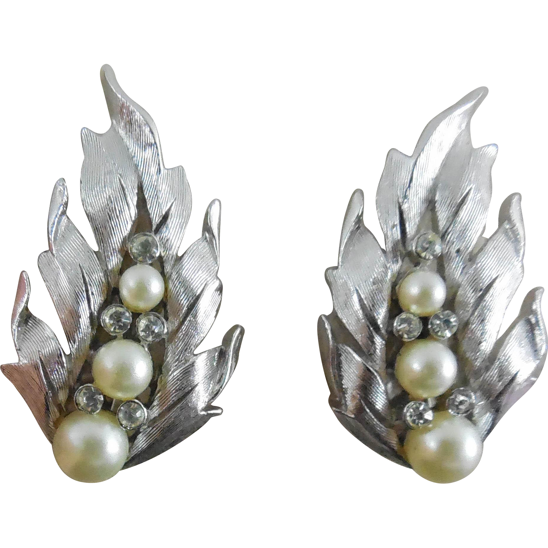 Vintage Rhodium Plate Crown Trifari Earrings With Faux Pearl & Rhinestone