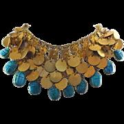Vintage Scarab & Coin Bib Statement Necklace - Circa 1960 Egyptian Motif