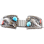 Vintage Native American Sterling Silver Coral Turquoise Watch Tips Signed DG