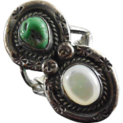Native American Two Stone Ring - Silver W/ Green Turquoise & MOP Shell