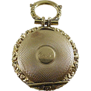 Antique Mourning Locket With Hair - Turned Engine Design & Elaborate Border - Engraved C to A