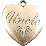 Vintage Beaded Heart Pendant or Charm Engraved Uncle